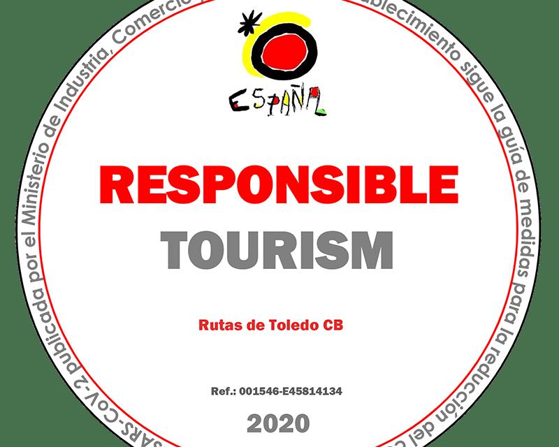 Distintivo de compromiso con un turismo responsable en Rutas de Toledo frente al Covid-19